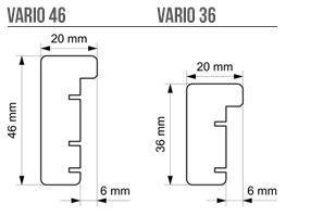 Vario 46 und Vario 36 sizes